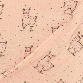Double gauze fabric Oeko-tex Little cute llama - powdery pink x 10cm