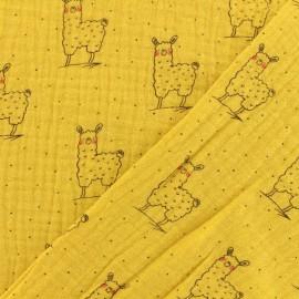 Double gauze fabric Oeko-tex Little cute llama - Mustard yellow x 10cm