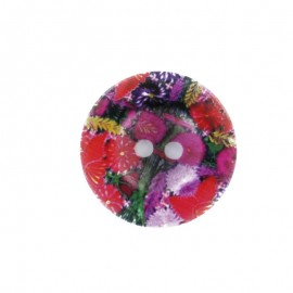 Bouton polyester Fleurs des champs - rouge