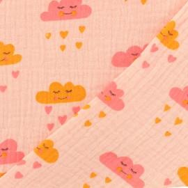 Tissu double gaze de coton Oeko-tex Cute clouds Poppy - orange rose x 10cm