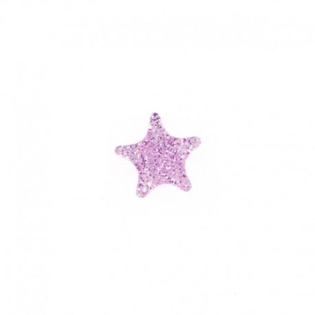 Bouton polyester Mille et une étoiles 11 mm - rose