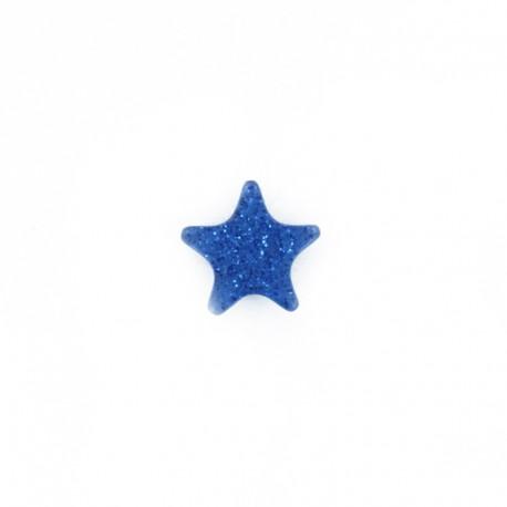 Bouton polyester Mille et une étoiles 11 mm - bleu