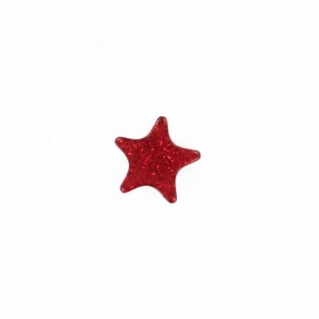 Bouton polyester Mille et une étoiles 11 mm - rouge
