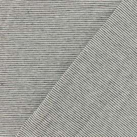 Tissu jersey rayé fond blanc rayures noires x 10cm