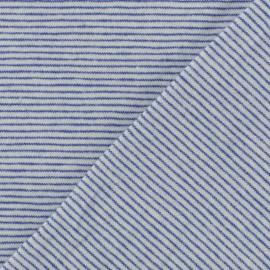 Tissu jersey rayé fond blanc rayures bleues x 10cm