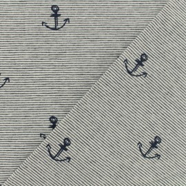 Jersey sripped fabric - navy blue - Sweet marine anchor x 10cm