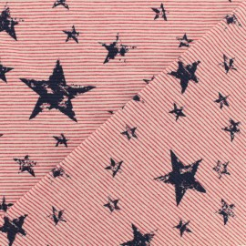 Jersey stripped fabric - Red - Nice stars x 10cm