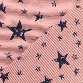 Tissu jersey rayé - Rouge - Nice stars x 10cm