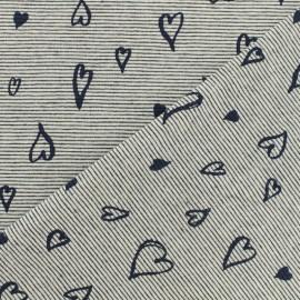 Tissu jersey rayé Lovely hearts - bleu marine x 10cm