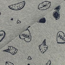 Tissu jersey rayé Enjoy summer - Bleu marine x 10cm