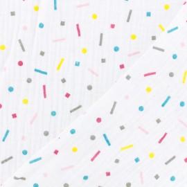 Tissu double gaze de coton Oeko-tex Celebrate Poppy - Blanc, rose, jaune, bleu x 10cm