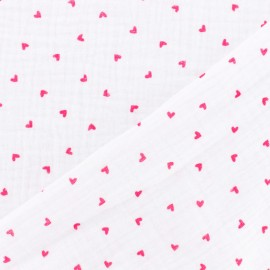 Tissu double gaze de coton Oeko-tex Poppy Little Hearts - Blanc x 10cm