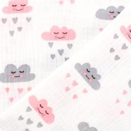 Tissu double gaze de coton Oeko-tex Cute clouds Poppy - blanc rose gris x 10cm