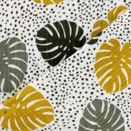 Tissu double gaze de coton Oeko-tex Pretty palms - Kaki, gris, blanc x 10cm