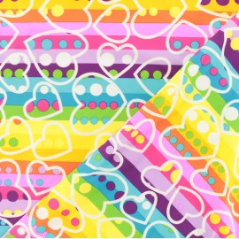 Swimsuit Lycra multicolored fabric - Colorful hearts x 10cm