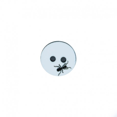 Bouton polyester Fourmi 12 mm - noir