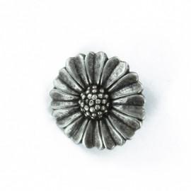 Bouton métal Pâquerette - vieil argent