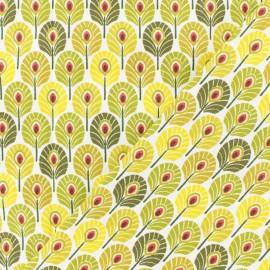 Tissu coton crétonne Plume de paon - absinthe x 10cm