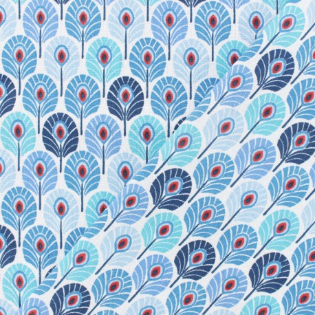 Oeko-tex cretonne cotton fabric  - indigo Plume de paon x 10cm