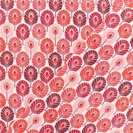 Tissu coton crétonne Plume de paon - rouge x 10cm
