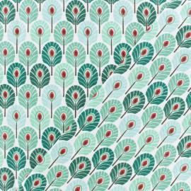 Oeko-tex cretonne cotton fabric  - mint green Plume de paon x 10cm