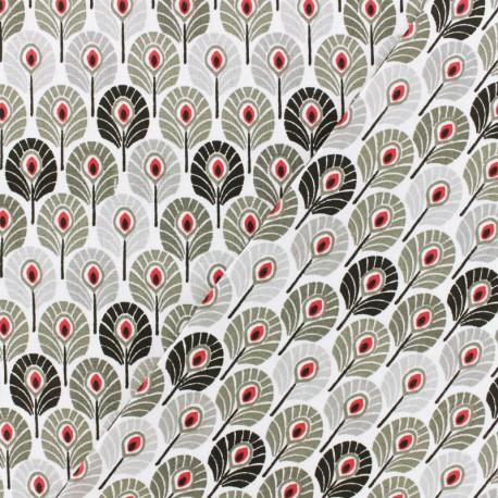 Tissu Oeko-Tex coton crétonne Plume de paon - noir  x 10cm