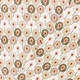 Tissu coton crétonne Plume de paon - beige x 10cm