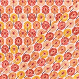 Tissu coton crétonne Plume de paon - orange x 10cm