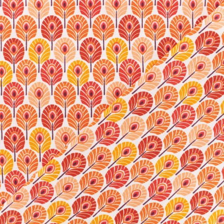 Oeko-tex cretonne cotton fabric  - orange Plume de paon x 10cm