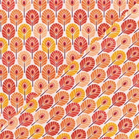 Tissu Oeko-Tex coton crétonne Plume de paon - orange x 10cm