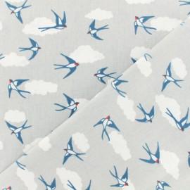 Tissu Oeko-Tex coton crétonne enduit Hirondelles - gris x 10cm