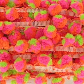 Neon trio pompom India trim - multi x 50cm