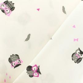 Oeko-tex Waffle stitch pink cotton fabric - Funny owl x 10cm