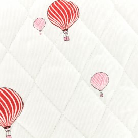 Oeko-tex Waffle stitch quilted red cotton fabric - Sweet balloon x 10cm