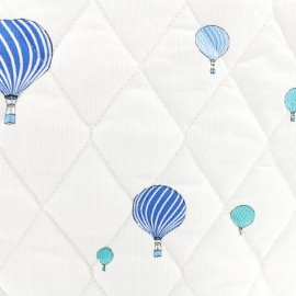 Oeko-tex Waffle stitch quilted blue cotton fabric - Sweet balloon x 10cm
