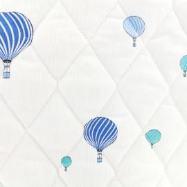 Tissu piqué de coton matelassé Sweet balloon - bleu x 10cm