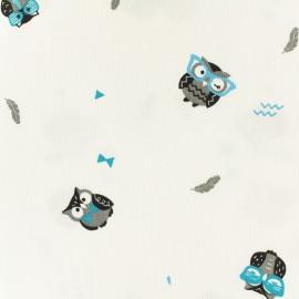 Oeko-tex Waffle stitch blue cotton fabric - Funny owl x 10cm
