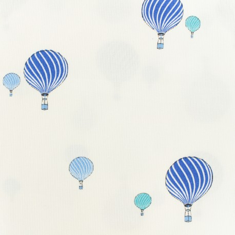 Oeko-tex Waffle stitch blue cotton fabric - Sweet balloon x 10cm