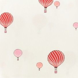 Oeko-tex Waffle stitch red cotton fabric - Sweet balloon x 10cm