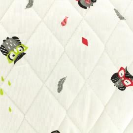 Tissu Oeko-tex piqué de coton matelassé Funny owl - rouge x 10cm