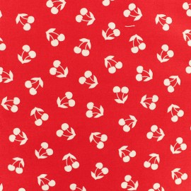 Tissu popeline Robert Kaufman Cerise en folie - rouge x 10cm