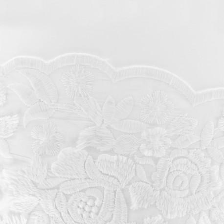 Tissu coton brodé festonné Dulce - blanc x 20 cm