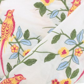 ♥ Coupon 75 cm X 130 cm ♥ Tissu coton brodé festonné Dheli - blanc