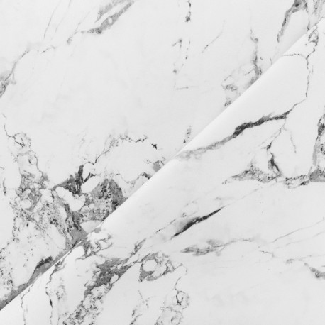 Simili cuir souple Marbre - blanc x 10cm