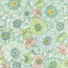 Poplin Fabric - mint Robert Kaufman Coquelicots x 10cm