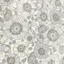 Poplin Fabric - grey Robert Kaufman Coquelicots x 10cm