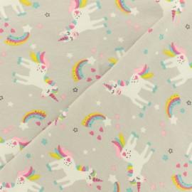 Oeko-Tex grey jersey fabric - Lovely unicorn x 10cm