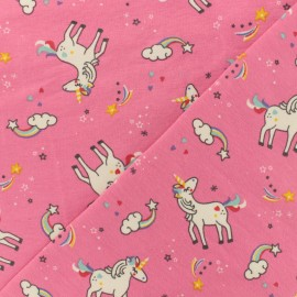 Oeko-Tex pink jersey fabric - Lovely unicorn x 10cm