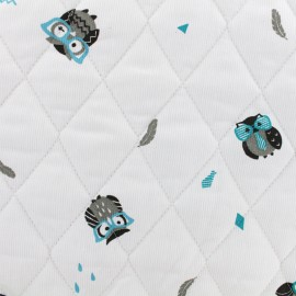Oeko-tex Waffle stitch blue cotton quilted fabric - Funny owl x 10cm