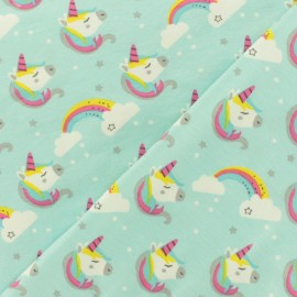 Oeko-Tex jersey fabric - Sky-blue Sweet unicorn x 10cm